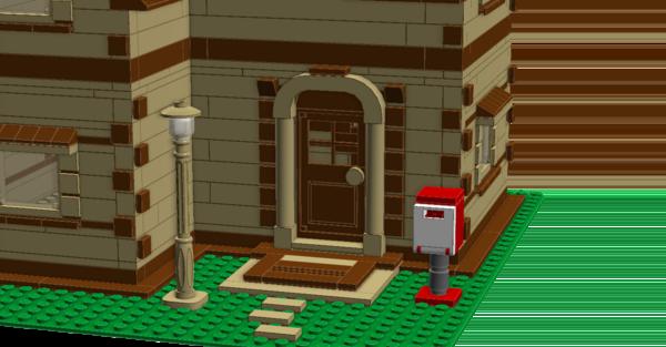 Вход с крыльцом, фонарём и почтовым ящиком