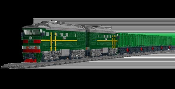 3. тепловоз 2ТЭ116 с составом коротких вагонов-платформ для перевозки труб и леса